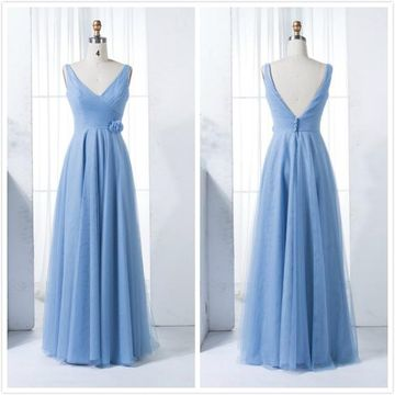 Formal Blue A-line Sleeveless Natural Waist Ruched Prom Dresses 2020
