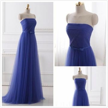 Formal Royal Blue A-line Sleeveless Natural Waist Bow Ruched Prom Dresses 2019