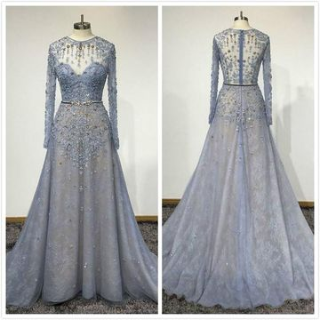 Blue Lace Customized O-Neck Women Evening Dress 2020