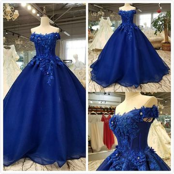 Gorgeous Royal Blue Ball Gown Short Sleeves Natural Waist Appliques Sequins Prom Dresses 2019