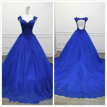 Formal Royal Blue Ball Gown Sleeveless Natural Waist Appliques Prom Dresses 2020