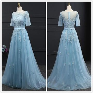 Elegant Blue Short Sleeves Natural Waist Beading Appliques Prom Dresses 2020 Floor-length