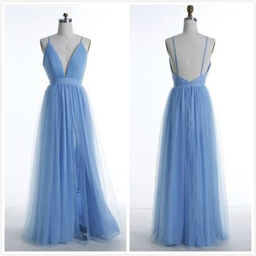 Sexy Blue A-line Natural Waist Ruched Prom Dresses 2019 Floor-length
