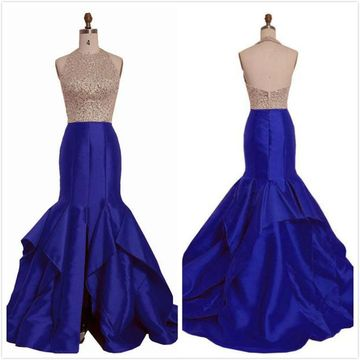 Sexy Royal Blue Sheath Sleeveless Natural Waist Beading Sequins Prom Dresses 2019