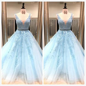 Blue A-line Sleeveless Natural Waist Beading Appliques Prom Dresses 2019 V-Neck