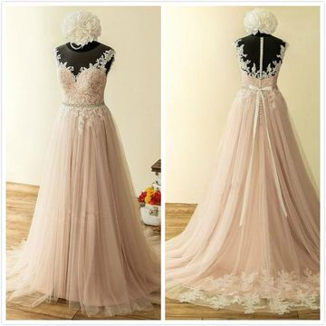 Elegant Formal Pink A-line Sleeveless Natural Waist Beading Prom Dresses 2019
