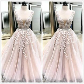 Cute Pink Sleeveless Natural Waist Appliques Ruched Prom Dresses 2019 Floor-length
