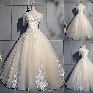 Elegant Modest Formal Ball Gown Short Sleeves Natural Waist Beading Appliques Prom Dresses 2019 Floor-length