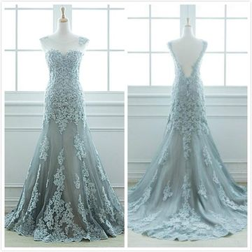 Elegant Formal A-line Sleeveless Natural Waist Appliques Prom Dresses 2020 Sweep/Brush Train