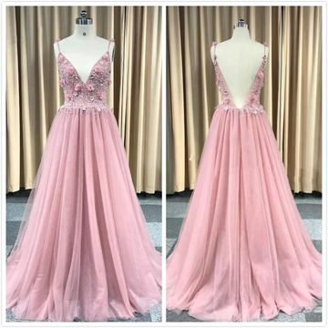 Elegant Princess Pink A-line Sleeveless Natural Waist Beading Prom Dresses 2019