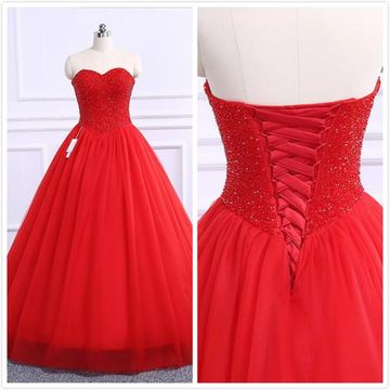 Princess Red Ball Gown Sleeveless Natural Waist Beading Prom Dresses 2019