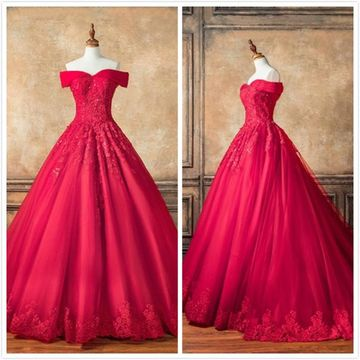 Princess Formal Red Ball Gown Short Sleeves Natural Waist Appliques Sequins Prom Dresses 2019