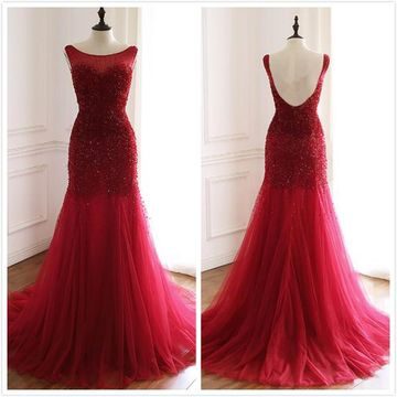 Elegant Red A-line Sleeveless Natural Waist Beading Sequins Appliques Prom Dresses 2019