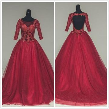 Formal Red Ball Gown 3/4 Length Sleeves Natural Waist Appliques Prom Dresses 2019