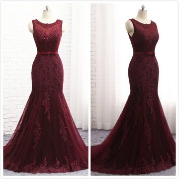Elegant Red Trumpet/Mermaid Sleeveless Natural Waist Beading Ruched Prom Dresses 2019