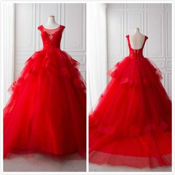 Modest Princess Red Ball Gown Sleeveless Natural Waist Appliques Prom Dresses 2020