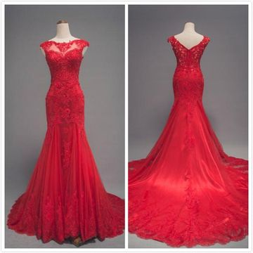 Formal Red Trumpet/Mermaid Cap Sleeves Natural Waist Beading Sequins Appliques Prom Dresses 2020