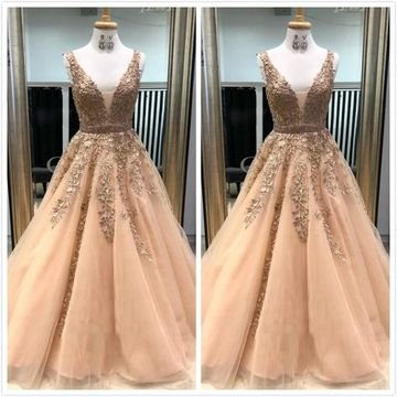 Formal Beige/Champagne A-line Sleeveless Natural Waist Appliques Prom Dresses 2019