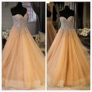 Simple Formal Beige/Champagne A-line Sleeveless Natural Waist Crystal Detailing Beading Prom Dresses 2019