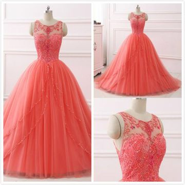 Elegant Gorgeous Coral Ball Gown Sleeveless Natural Waist Beading Sequins Prom Dresses 2020