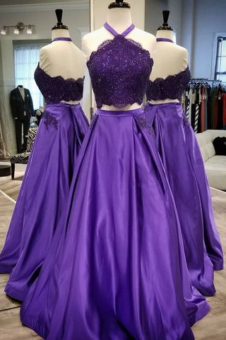 Formal Purple A-line Sleeveless Natural Waist Beading Prom Dresses 2020