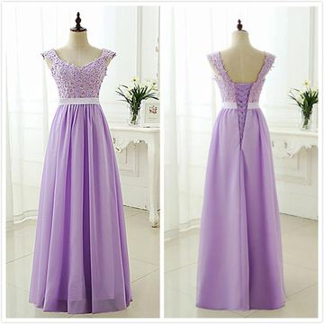 Simple Lavender A-line Sleeveless Natural Waist Beading Appliques Prom Dresses 2019