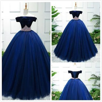 Elegant Formal Gorgeous Blue Ball Gown Cap Sleeves Natural Waist Beading Prom Dresses 2019