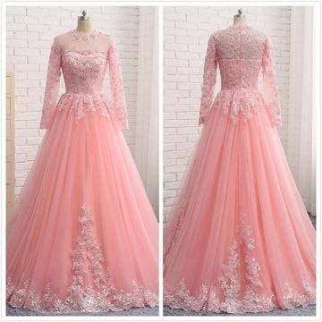 Formal Pink A-line Long Sleeves Natural Waist Beading Appliques Prom Dresses 2019