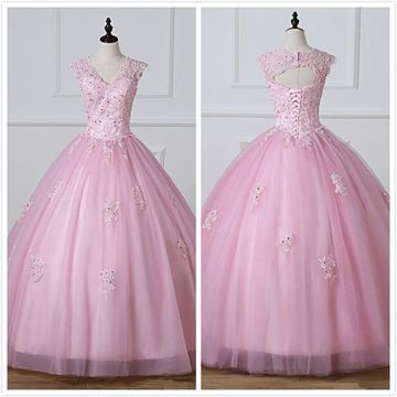 Princess Formal Pink Ball Gown Cap Sleeves Natural Waist Beading Appliques Prom Dresses 2019