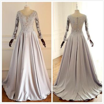 Elegant Gray Ball Gown Long Sleeves Natural Waist Beading Prom Dresses 2019