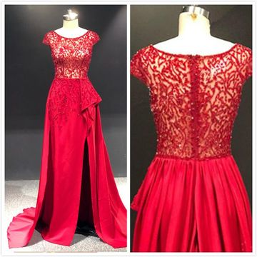 Gorgeous Red A-line Cap Sleeves Natural Waist Beading Split Prom Dresses 2020