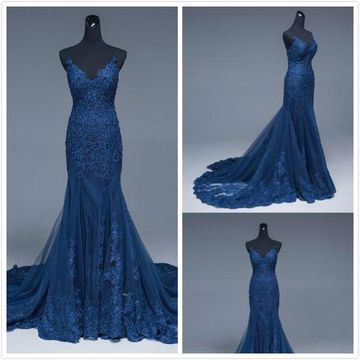 Elegant Blue Trumpet/Mermaid Sleeveless Natural Waist Appliques Sequins Prom Dresses 2019