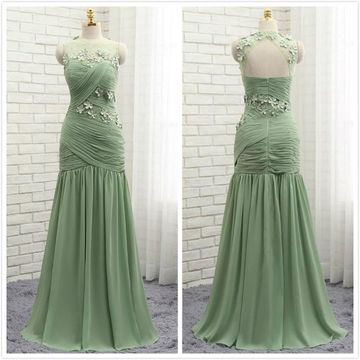 Formal Gorgeous Green Sleeveless Natural Waist Crystal Detailing Appliques Prom Dresses 2019 Floor-length