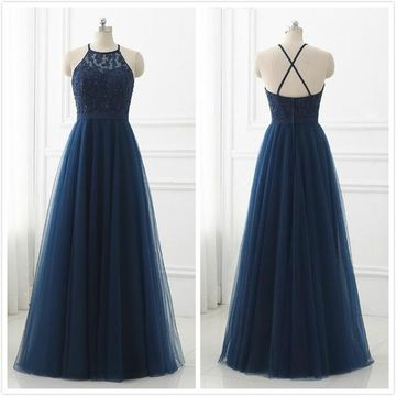 Formal Navy A-line Sleeveless Natural Waist Appliques Prom Dresses 2019