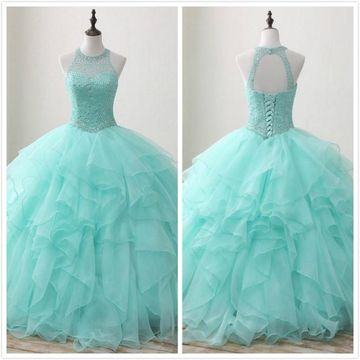 Princess Mint Green Ball Gown Sleeveless Natural Waist Beading Sequins Prom Dresses 2019