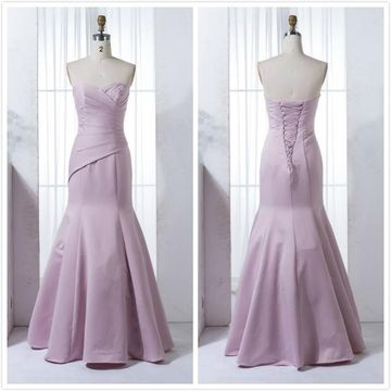 Lilac Satin Sweetheart Long Mermaid Simple Prom Dress Bridesmaid Dress 2019