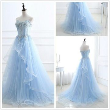 Formal Gorgeous Ice Blue A-line Sleeveless Natural Waist Appliques Prom Dresses 2019