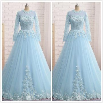 Formal Gorgeous Ice Blue A-line Long Sleeves Natural Waist Beading Appliques Prom Dresses 2020