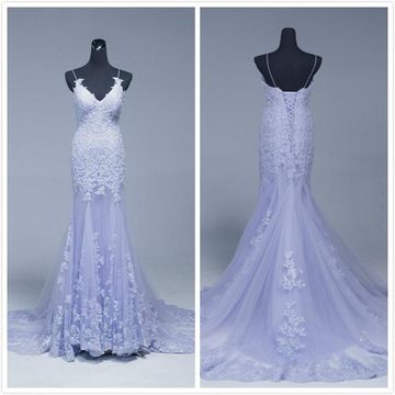 Gorgeous Lavender Trumpet/Mermaid Sleeveless Natural Waist Beading Prom Dresses 2019