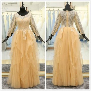 Modest Formal Yellow A-line 3/4 Length Sleeves Natural Waist Beading Appliques Prom Dresses 2020