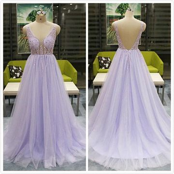 Formal Gorgeous Lavender A-line Sleeveless Natural Waist Beading Sequins Prom Dresses 2020