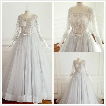 Formal A-line Long Sleeves Natural Waist Beading Sequins Bow Prom Dresses 2019 Court Train