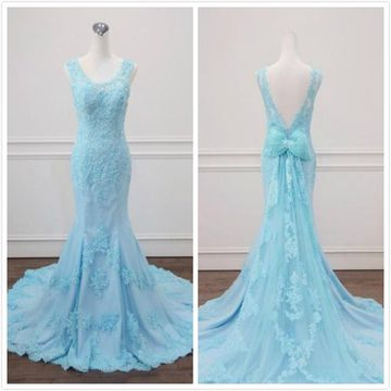 Formal Gorgeous Blue Trumpet/Mermaid Sleeveless Natural Waist Beading Appliques Prom Dresses 2020