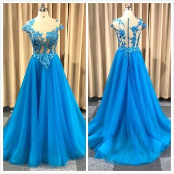 Gorgeous Blue A-line Cap Sleeves Natural Waist Appliques Sequins Prom Dresses 2020