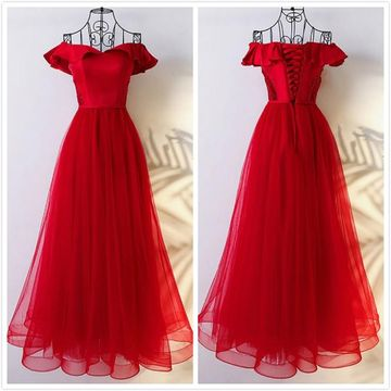 Formal Red A-line Cap Sleeves Natural Waist Prom Dresses 2020 Floor-length