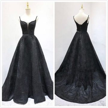 Formal Black A-line Natural Waist Beading Prom Dresses 2020 Court Train