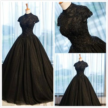 Formal Gorgeous Black Ball Gown Short Sleeves Natural Waist Prom Dresses 2020 Floor-length