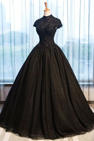 49off formal gorgeous black ball gown short sleeves