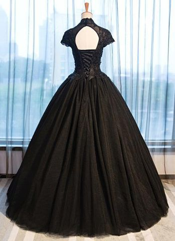03f199193bd 49%OFF Formal Gorgeous Black Ball Gown Short Sleeves Natural Waist ...