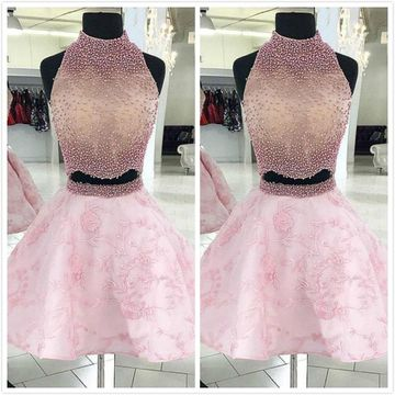 Petite Pink A-line Sleeveless Natural Waist Beading Prom Dresses 2020